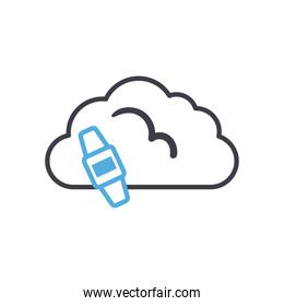 Cloud computing with smartwatch line style icon vector design