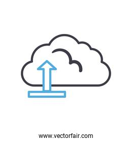 Cloud computing with upload arrow line style icon vector design