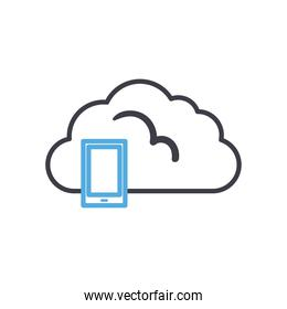 Cloud computing with smartphone line style icon vector design