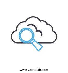 Cloud computing with lupe line style icon vector design