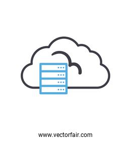 Cloud computing with web hosting line style icon vector design