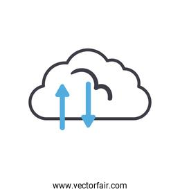 Cloud computing with upload and download arrows line style icon vector design