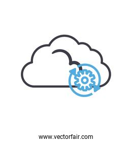 Cloud computing with gear line style icon vector design