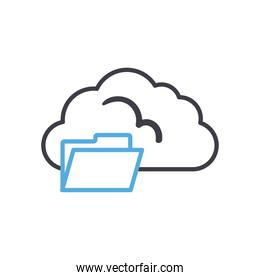 Cloud computing with file line style icon vector design