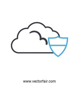 Cloud computing with shield line style icon vector design