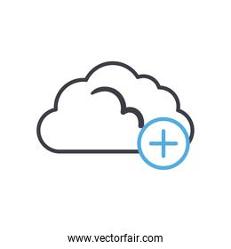 Cloud computing with add line style icon vector design