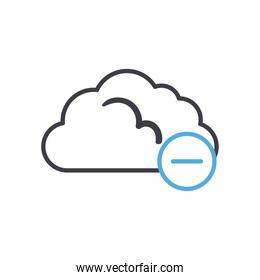 Cloud computing with minus line style icon vector design