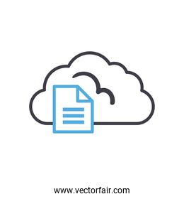 Cloud computing with document line style icon vector design
