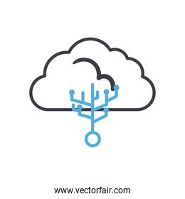 Cloud computing with circuit line style icon vector design