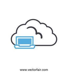Cloud computing with laptop line style icon vector design