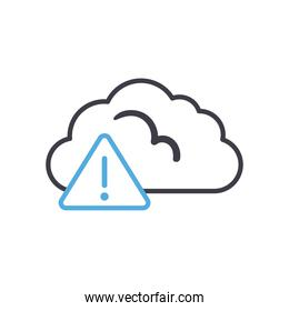 Cloud computing with warning triangle line style icon vector design