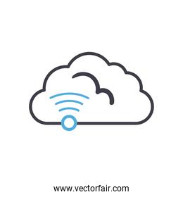 Cloud computing with wifi line style icon vector design