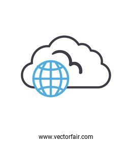 Cloud computing with global sphere line style icon vector design