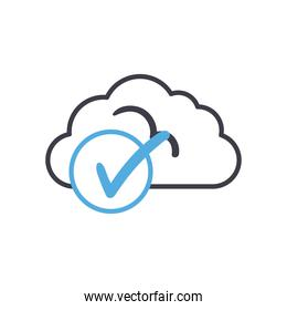 Cloud computing with check mark line style icon vector design