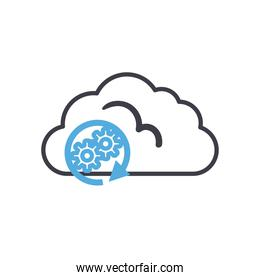 Cloud computing with gears line style icon vector design
