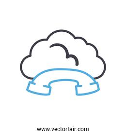 Cloud computing with phone line style icon vector design