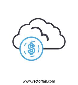 Cloud computing with dollar coin line style icon vector design