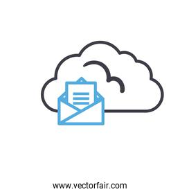 Cloud computing with envelope line style icon vector design