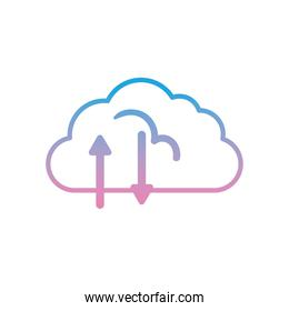 Cloud computing with upload and download arrows gradient style icon vector design