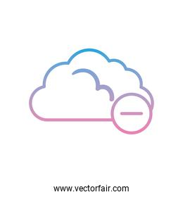 Cloud computing with minus gradient style icon vector design