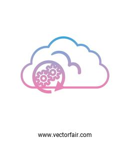 Cloud computing with gears gradient style icon vector design