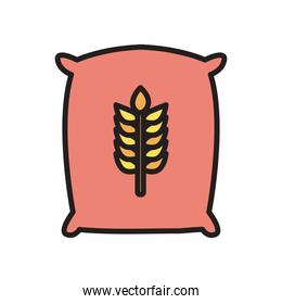 wheat ear seeds bag line and fill style icon vector design
