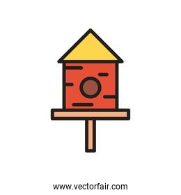 birds house line and fill style icon vector design
