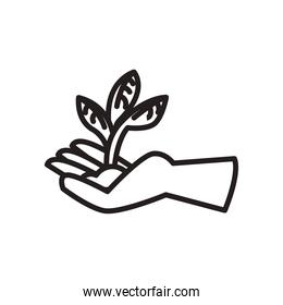 plant on earth in hand line style icon vector design