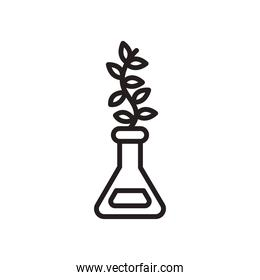 plant in flask line style icon vector design