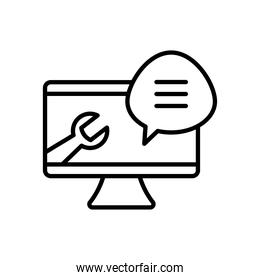 Technical service concept, speech bubble and computer with wrench tool shape, line style