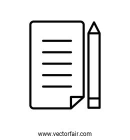 paper page and pencil icon, line style