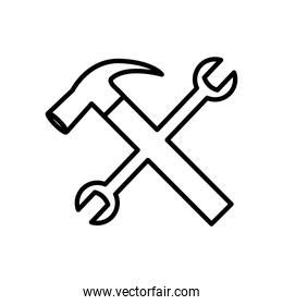 hammer and wrench crossed, line style