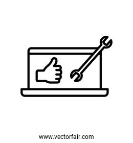 Technical service concept, laptop computer with wrench tool and hand with thumb up, line style