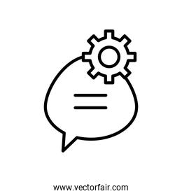 speech bubble and gear wheel icon, line style