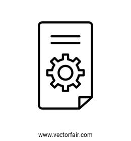 technical service concept, document page with gear wheel icon, line style