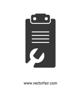 Technical service concept, clipboard with wrench tool shape, silhouette style