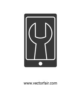 Technical service concept, smartphone with wrench tool icon on screen, silhouette style