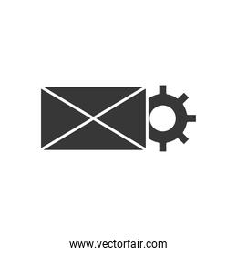 Technical service concept, envelope with gear wheel icon, silhouette style