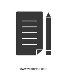 paper page and pencil icon, silhouette style