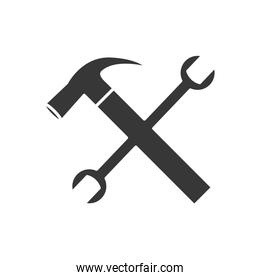 hammer and wrench crossed, silhouette style