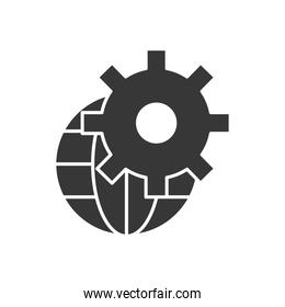 Technical service concept, global sphere with gear wheel icon, silhouette style