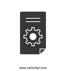 technical service concept, document page with gear wheel icon, silhouette style