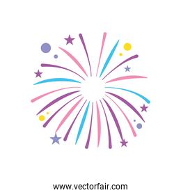 fireworks exploding with circles and stars, flat style