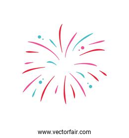 icon of explosion of firework over white background, flat style