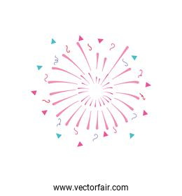 festive fireworks with stripes and triangles exploding, flat style