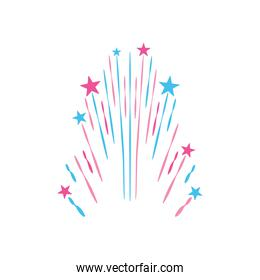 stars and striped explosion icon, flat style