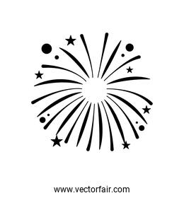 fireworks exploding with circles and stars, silhouette style