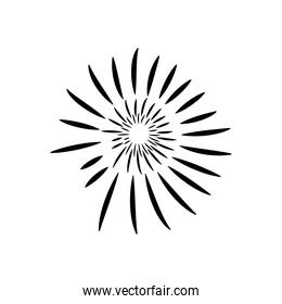 striped fireworks icon, silhouette style