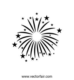 striped and stars fireworks icon, silhouette style