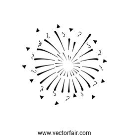 festive fireworks with stripes and triangles exploding, silhouette style